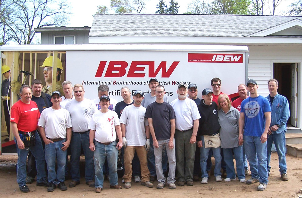 IBEW Volunteers (The International Brotherhood of Electrical Workers) brings quality professional safe electrical service to ECM Habitat for Humanity's Homes for families in need of escaping substandard housing.